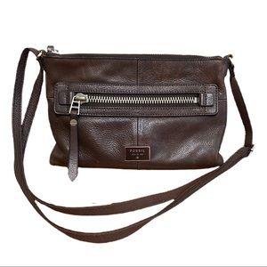 Fossil Brown Leather Dawson Zip Crossbody Bag